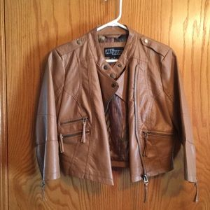 Faux Leather Jacket, cropped